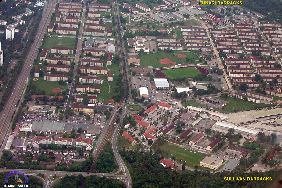 Mannheim Germany  city images : recent aerial view of Sullivan Barracks, Funari Barracks and the ...