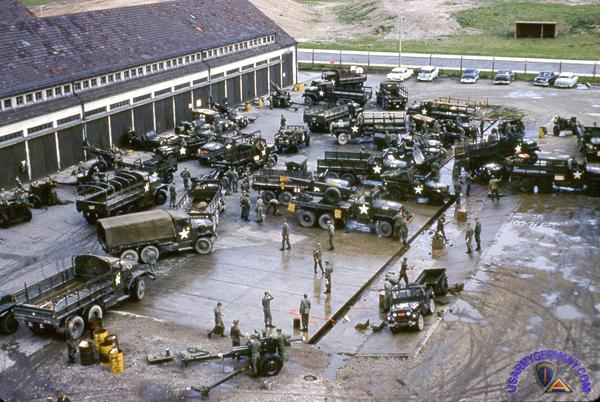 Warner Barracks motor pool - a beehive of activity, 1961