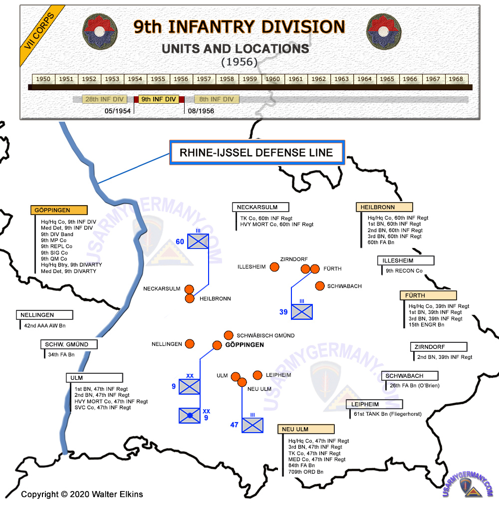 USAREUR Org Charts - 9th Inf Div Map