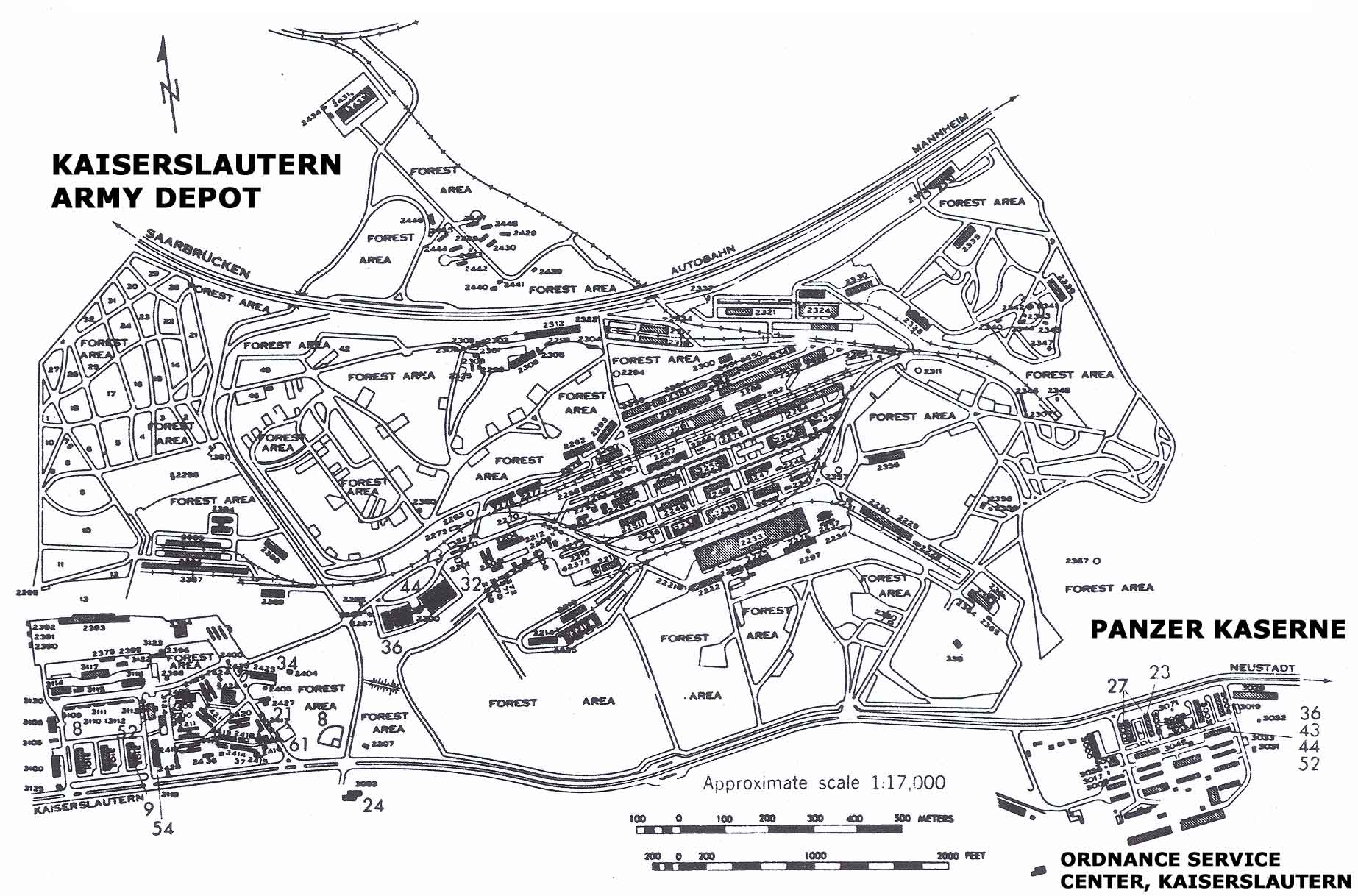 USAREUR Installation Maps - KAD, Panzer and Ord Svc Cen