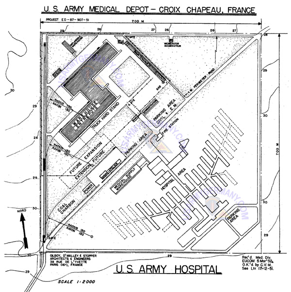 Croix Chapeau Medical Depot Installation Map Planned 1952