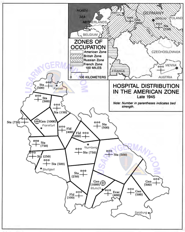 Distribution Of Us Army Hospitals In The Occupied Areas Late 1945 Us Army