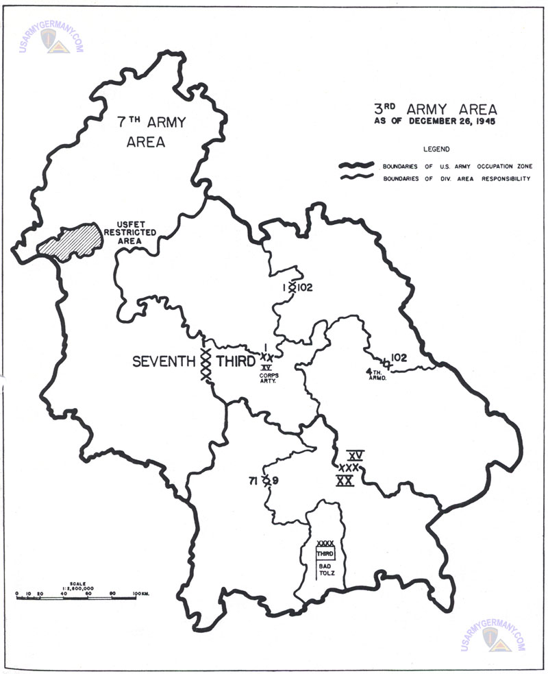 Map Of Germany Occupation Zones.Usareur Charts 3rd Army