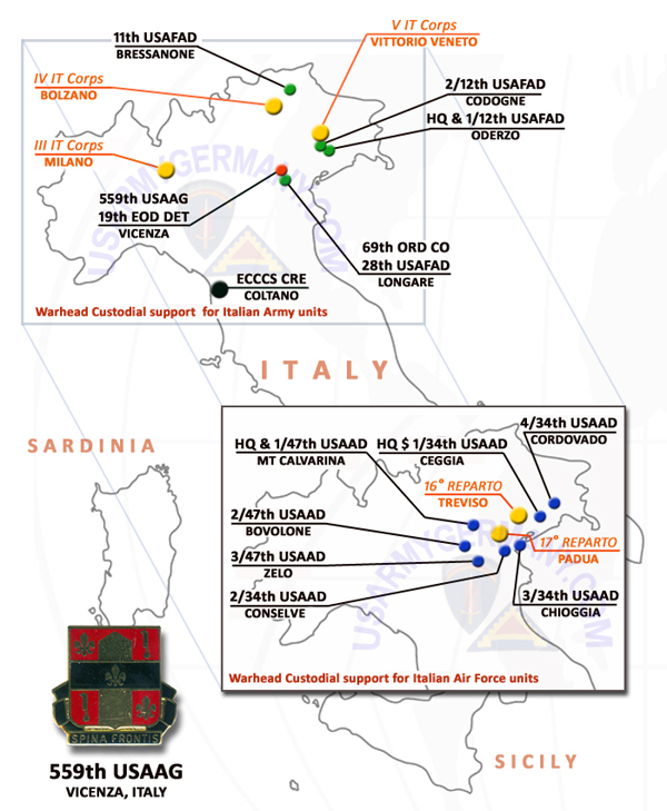 USAREUR Units Kasernes - Us military bases in italy map
